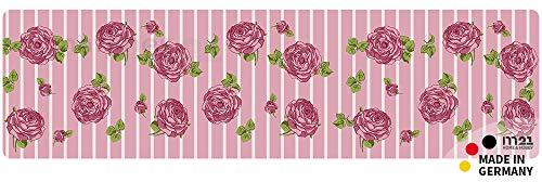 matches21 Küchenläufer Teppichläufer Teppich Läufer Rosen rosa 50x180x0,4 cm rutschfest maschinenwaschbar Küchenvorleger