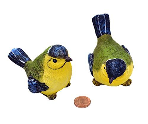 Muwse 2 Deko-Vögel je 7x5x5 cm handbemalte Garten-deko aus Poly-Resin Kunst-Stein