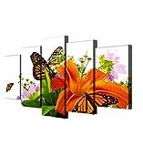 GTomorrow Impression sur Toile Lys Et Papillons Orange Abstrait Peinture Image Tableau Decoration sur Châssis 200X100Cm