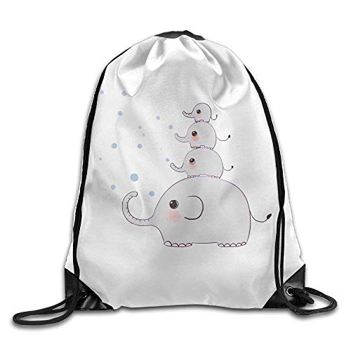 Backpack Bags for Men Women Kids Casual Gym Bag - (Small Elephant Ride Big One - White) - ()
