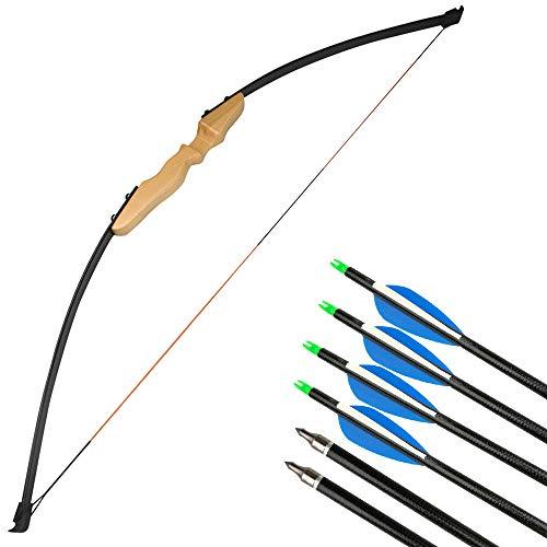 SHARROW 40lbs Bogenschießen Straight Bogen Takedown Recurve Bogen und Pfeil Set Langbogen für Kinder Erwachsene (Gelb+ 6 stück Pfeile) -