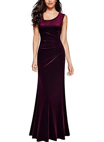 Miusol Damen Elegant Samtkleid Velvet Abendkleid Rundhals Brautjungfer Cocktailkleid Vintage...