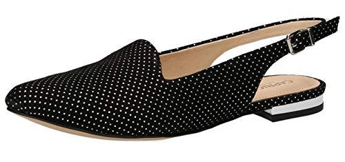 CAPRICE 29400-22 Damen Slingpumps,Slingback Pumps,Leder,modisch,Fashion,(21) Black DOTS SUE,42 EU -