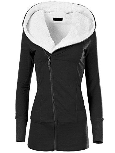 L874 Damen Jacke Mantel Winterjacke Kapuze Gefüttert, Farben:Schwarz;Größen:XXL