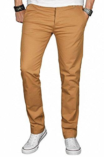 A. Salvarini Herren Designer Chino Stretch Stoff Hose Chinohose Regular Slim mit Elasthananteil AS024 [AS024 - Camel - W31 L30]
