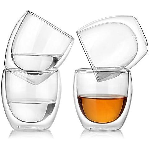 GVDV Confezione da 4 bicchieri a doppia parete 250 ml per caffè espresso, liquori, tè, latte ecc