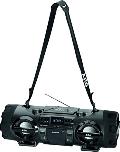 AEG SR 4360 Stereoradio-Soundbox CD/MP3/USB-Port/AUX-IN mit Bluetooth inkl. 7 Farben Discolicht, 2x50 W + 2x20 W Subwoofer