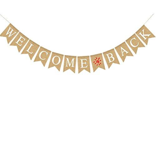 BESTOYARD Welcome Back Bunting Banner Dekorative Sackleinen Banner für Party Festival Feier, zurück zu Schule Dekoration, Familie Aktivitäten Banner (Schule-tür-dekorationen Zu Zurück)