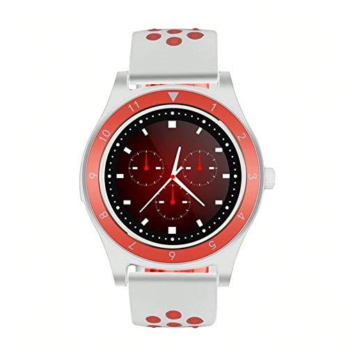 GxYue Fitness Intelligentes Armband der Fitness-Tracker-Aktivität, Sport-Schrittzähler Bluetooth-Fitness-Tracker, unabhängige Karte, rund, zweifarbige Modeuhr Schrittzähler (Color : Red and White) -