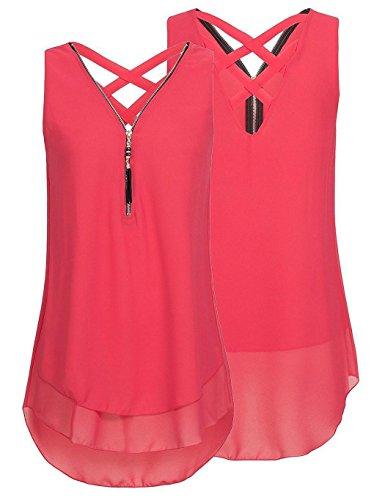 Ceanfly Femmes Lâches Top sans Manches Cross Zipper V-Col en Mousseline de Soie Hem T-Shirts (Rouge, XXX-Large)
