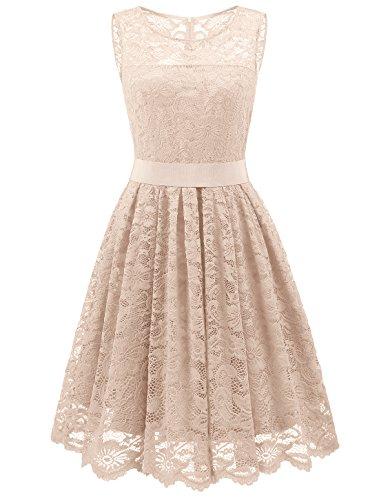 Prom 2014 Kleider (Wedtrend Damen Elegant Spitzenkleid Cocktailkleider Brautjungfernkleid Partykleid DWT10103Champagne XL)