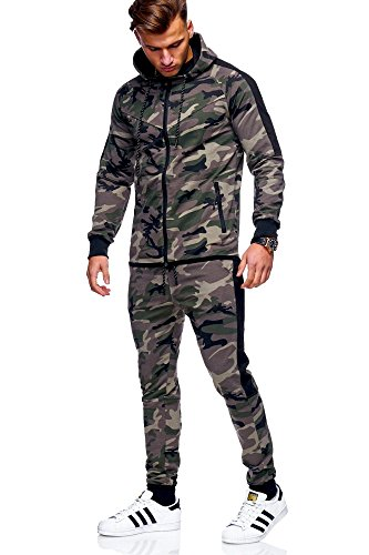 MT Styles Herren Trainingsanzug Jogginganzug Sportanzug Sporthose+Hoodie R-1159 [Khaki, S]