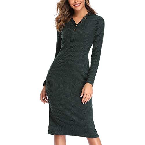 Sunday Damen Kleider Elegante Strickkleider A Linien Abendkleid Knielang Sexy Bodycon Kleid V-Ausschnitt Herbstkleid Ballkleid - Temporäre Linie