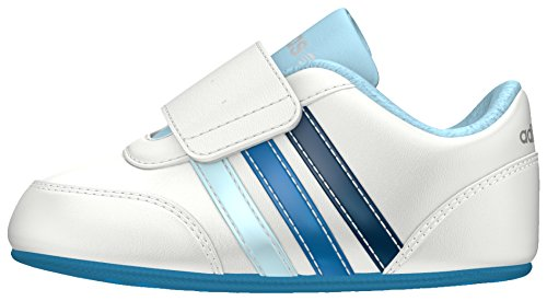adidas Unisex Baby V Jog Crib Lauflernschuhe, Blanco (Ftwbla / Azusol / Azuuni), 18 EU