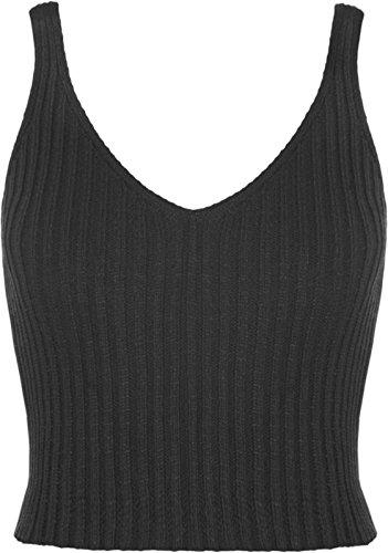 femmes tricot crochet haut court été brassière femmes col V profond haut Noir