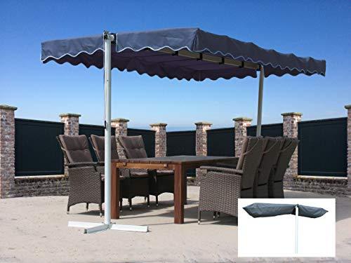 Quick-Star Ziehharmonika-Markise Dubai Grau mit Schutzhülle Grau