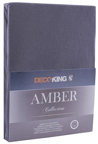 DecoKing 17616 80x200-90x200 cm Spannbettlaken Graphit 100% Baumwolle Jersey Boxspringbett Spannbetttuch Bettlaken Betttuch dimgray Amber Collection - 2