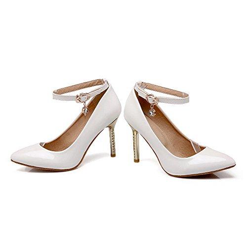 AgooLar Damen Lackleder Rein Schnalle Spitz Schließen Zehe Stiletto Pumps Schuhe Weiß