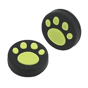 2Silikon Analog Controller Daumen Stick Griff Gap für Nintendo Schalter NS Controller Joy-Con Thumbstick (2Pcs Grün Cute Cat Paw Claw)