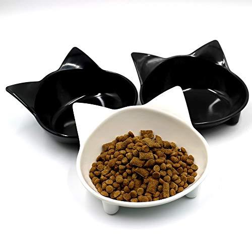 Set mit 2 Katzenschüsseln, Melaminschale, frisky Kitty Shape breiter Katzenschale, rutschfest, für Whisker Fatigue Relief Pet Kleine Hundefutter-Wassernäpfe - Grau/Schwarz