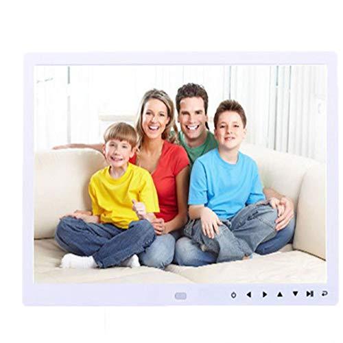 YUANYUAN520 Bilderrahmen 12-Zoll-Frontbildschirm-Taste Hochauflösender Digitaler Fotorahmen, Weiss