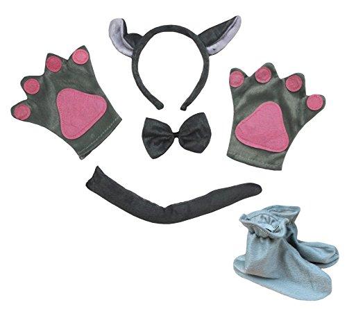 Wolf Pfoten Kostüm (Grau Wolf Stirnband Schleife Schwanz Handschuh Schuhe 5-teiliges Kostüm für Kid Halloween)