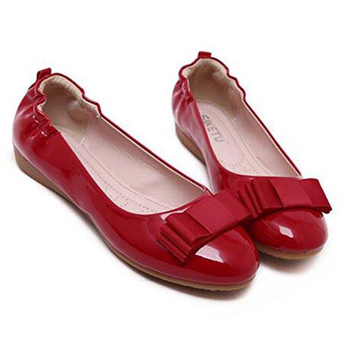 SUNAVY Damen Schmetterling Mokassins Ballerinas,2017 New Mädchen Komfortable Bow Loafers Slippers Halbschuhe Flach Fahren Schuhe(EU 34--EU 43) BrightRot