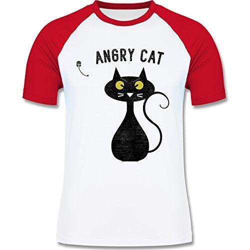 Nerds & Geeks - Angry Cat - Nerdy Cats - zweifarbiges Baseballshirt für Männer Weiß/Rot
