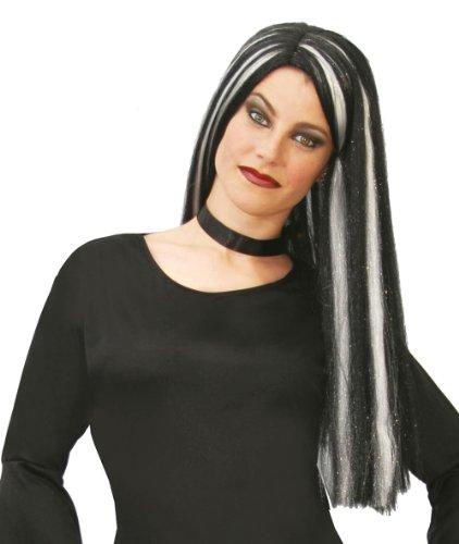 Guirca 4172 -  parrucca lunga da strega, nero/bianco, taglia unica