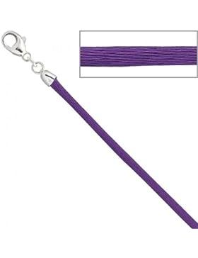 Seidencollier 925/-S lila Seidenband lila Seidenkette Seidenkordel 42 cm
