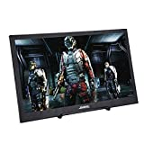 JOHNWILL 15,6 Zoll tragbarer IPS-Monitor Full-HD-Bildschirm 1920 x 1080 Monitor Tragbare ultradünne Schwarze Metallhülle HDMI/USB-Lautsprecher Eingebauter Raspberry Pi PS4