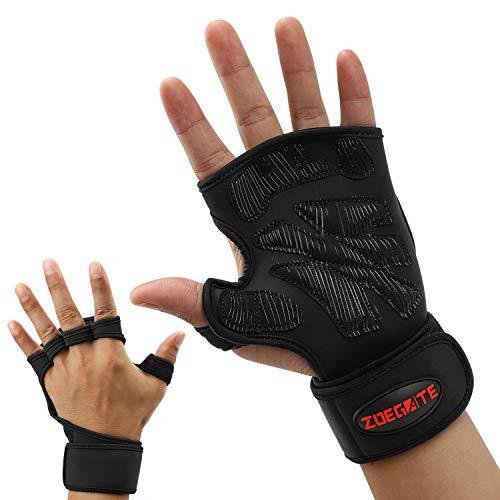 Fortunam Fitness-Handschuhe mit stützender Handgelenkbandage Trainingshandschuhe für Crossfit und Kraftsport mit Einer Handinnenfläche (S/M)