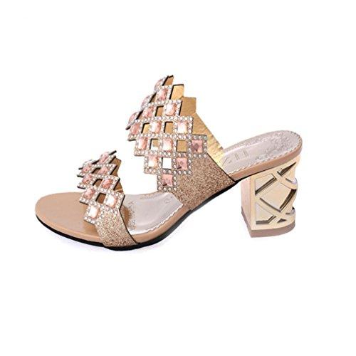 UFACE Strass Floß Air Mit Frauen Sandalen Hausschuhe Sommer Mode MäDchen GroßE High Heel Sandaletten Damen Strand Sandale (39, Stil 2-Golden) (Floß Blume)