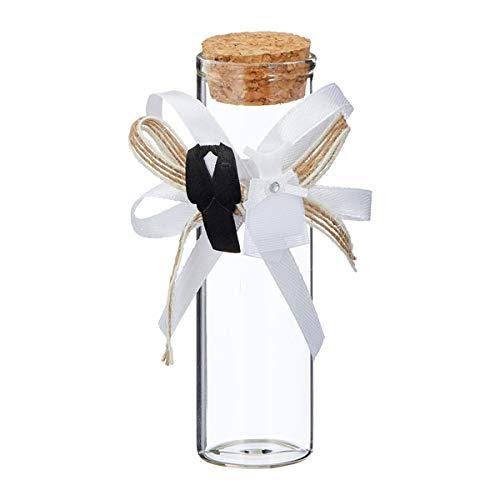 12 Glasröhrchen Hochzeitsgastgeschenk mit Schleife (Glasröhrchen)