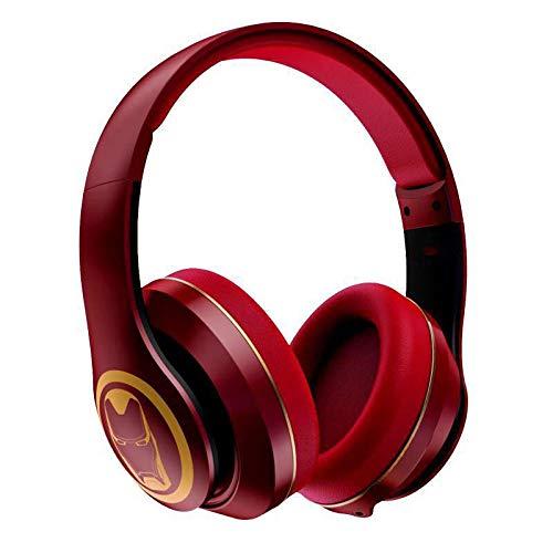 ZLAHY Fitness-Tracker Klappbarer Bluetooth 5.0 Funkkopfhörer HiFi Stereo Sound Balance Starker Bass Headset Mit Mikrofon 3.5mm Audio Kabel Interface, rot