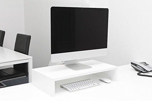 Monitortisch Bildschirm Ständer Monitor Erhöhung Schreibtischregal Standfuss verschiedene Größen und Farben Weiß glanz B 90 x H 12 x T 30 (Konsole Tisch 12)