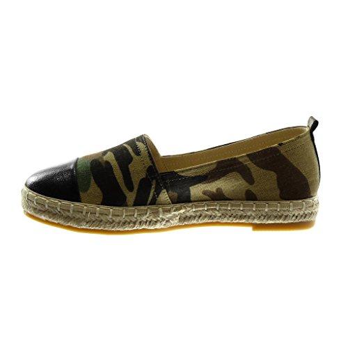 2 Blockabsatz 5 Angkorly Material Glänzende Tarnung Damen Seil Schuhe Geflochten on Slip BI Espadrilles cm wWPZyA7qvw
