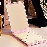GZ Tragbarer Tragbarer Spiegel Mit Hellem Spiegel Gefaltet, Der Kleinen Ankleidenden Spiegel Handheld-Füllungslicht Prinzessin Mirror Faltet,Rosa,12 * 8.5Cm