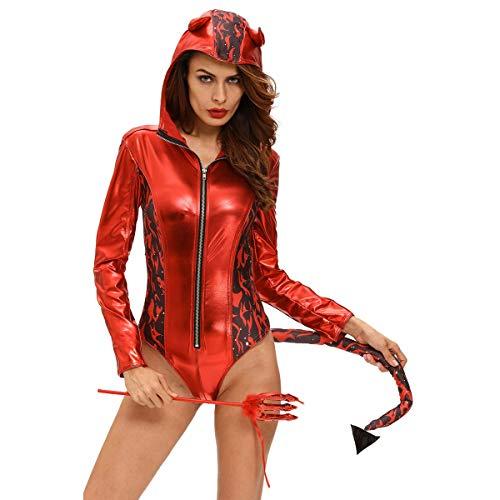 Coeffort Halloween Cosplay Sexual Red Devilish mit Kapuze Spielanzug-Kostüm Halloween Sexy Cosplay erwachsenes (Sexy Frechen Teufel Kostüm)