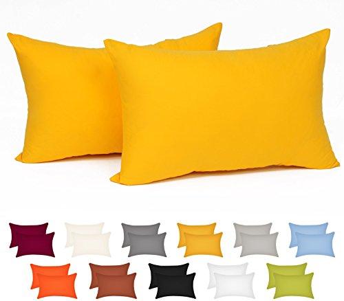 WOLTU® KB5155gbQ2 , 2x Kissenbezug Kissenhülle 100% Baumwolle mit Reissverschluss , 2er Set Sofakissen Dekokissen Kissen Bezug , Kopfkissen Hülle Bezüge Doppelpack , 50x60 cm , Gelb