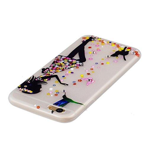 """Coque iPhone 6 / 6S , IJIA Ultra-mince Noctilucent Beau Motif de Fleurs Bleues TPU Doux Silicone Bumper Case Cover Coque Housse Etui pour Apple iPhone 6 / 6S 4.7"""" WM49"""