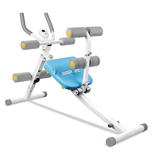 IDEER LIFE 2 in 1 Bauchtrainer & Rückentrainer, Klappbares Bauchmuskelgerät für Zuhause, AB Trainer mit LED Anzeige, Nutzergewicht bis 100 KG (Blau - 09036)