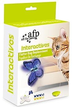 Jouet Papillon Electrique Rotating Chat Jouet pour Chat avec Deux papillons de Remplacement Flashing Interactive Cat Toy (Lot de 6 Papillon de Remplacement) Bleu et Jaune 3 PCS Par Chauqe Couleur