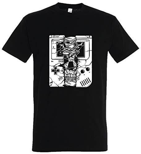 Old Kostüm School Zombie - T-Shirt Herren/Damen Schwarz mit Broke Gameboy Aufdruck (XL, Schwarz)