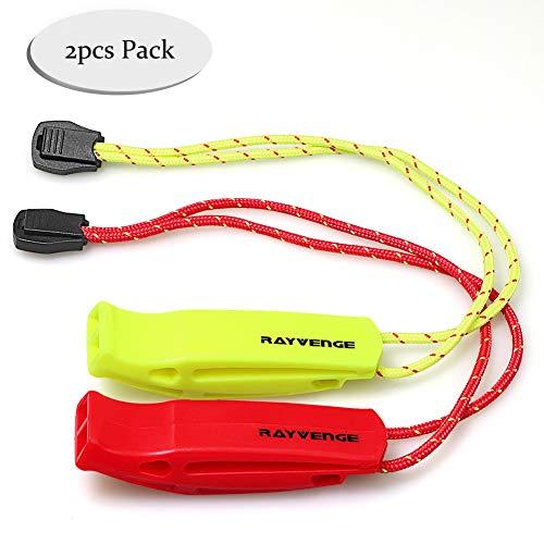 RAYVENGE Sécurité Sifflet avec lanière pour le Bateau randonnée Kayak survie d'urgence Rescue signalisation (lot de 2)