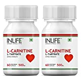 Inlife L-Carnitine L-Tartarate 500mg Supplement (60 Capsules) - Pack Of 3