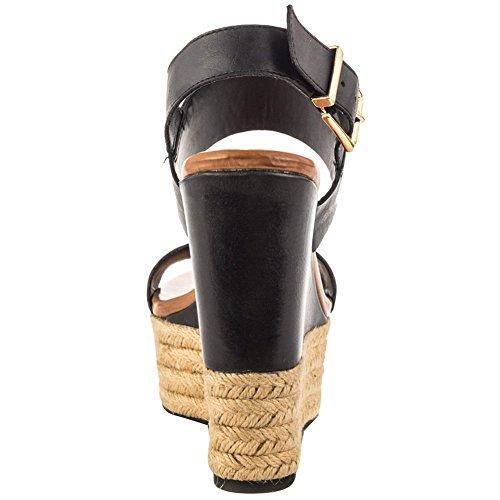 EKS , Sandalettes à semelle compensée femme Noir