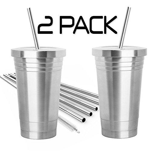 2Stück Edelstahl Tumbler (16oz) mit 4Edelstahl Trinkhalme, 2Reinigungsbürsten und Dual Layer Isolierung–Reise Becher für heiße und kalte Getränke (Etwas Für 8 Dollar)
