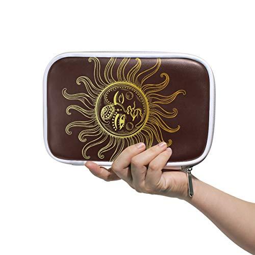 Sun Moon Tattoo mehrere große Leder Bleistift Stift Taschen Reise Kosmetiktasche Passport Wallet mit Reißverschluss