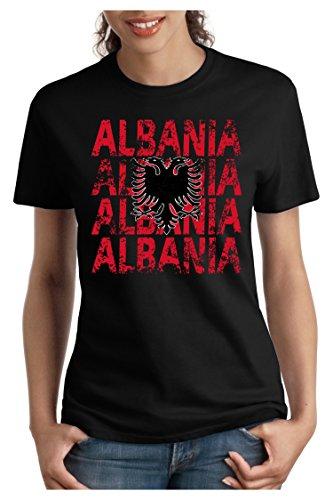 OM3 - ALBANIA - Damen T-Shirt tailliert - ALBANIEN EM 2016 FRANKREICH FRANCE FUSSBALL FANSHIRT SOCCER SPORT TRIKOT EUROPAMEISTER, S - XXL Schwarz